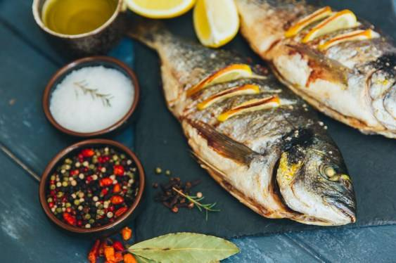 grilled fish with fresh herbs and spices